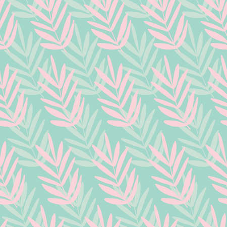 Seamless palm leaf leaves texture pattern. Stylish repeating texture. Trendy. Botanical beach pattern with teal and pink leaves. 版權商用圖片 - 151319310