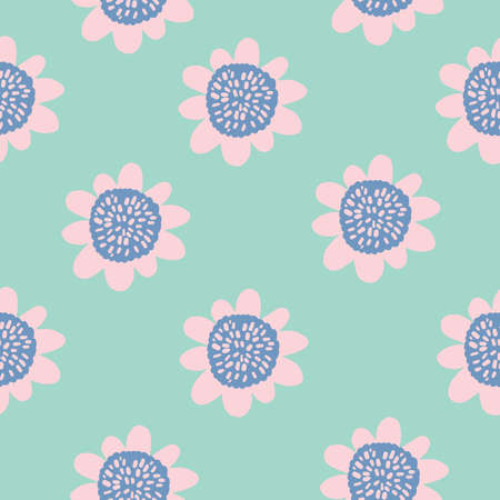 cute 60s vintage Retro floral with teal pink and blue simple flowers. pattern with mint background. 版權商用圖片 - 151394915