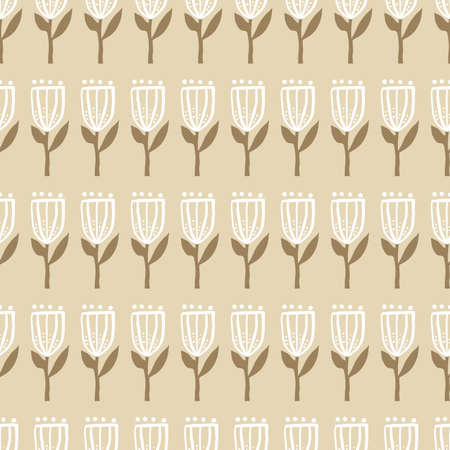 girly tan vintage Retro floral pattern with beige tan background. Elements are tulips in circles. 版權商用圖片 - 151394927