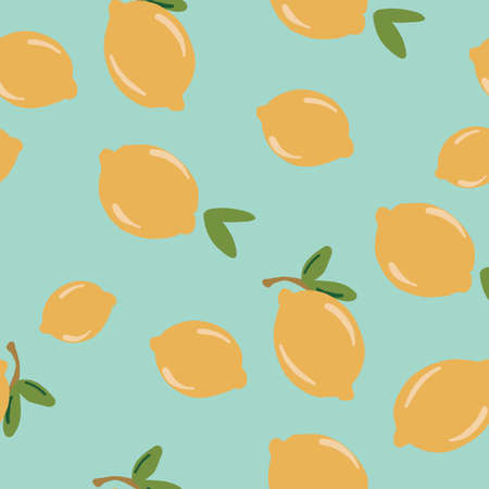 Vintage Retro Seamless yellow mint green teal aqua lemon pattern. Repeat vector pattern of hipster product pattern. 版權商用圖片 - 151394935