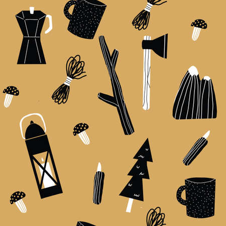 Gold black and white Seamless repeat camping Vector Pattern with Mountains trees knive, mushrooms cup and latern 版權商用圖片 - 151763781