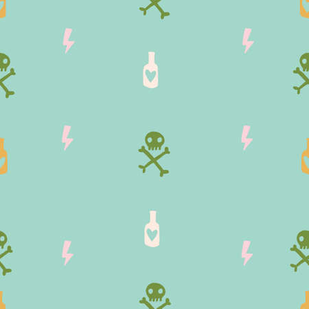 teal mint and green pink cute grunge doodle random objects Seamless repeat pattern. Eye bottle key skull and crossbones. 版權商用圖片 - 151763782