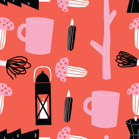Stylish Pink black and red Seamless repeat camping Vector Pattern with lantern sticks camping mug, mushrooms rope and trees 向量圖像