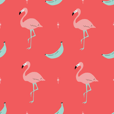 Seamless bright repeat vector retro pink and red tropical flamingo and banana pattern with retro stars. 版權商用圖片 - 152651258