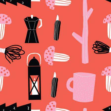 Pink black and red seamless repeat hand drawn camping outdoors pattern