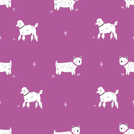 Seamless purple poodle and dog monochrome retro hipster pattern. 版權商用圖片 - 154399985