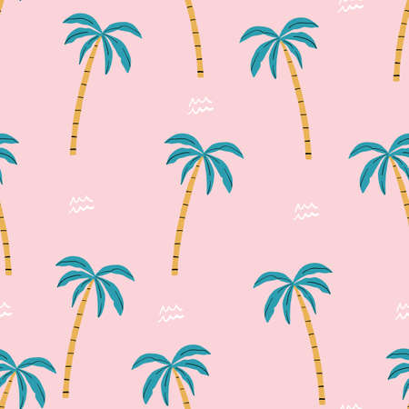 seamless pink and green palm trees pattern. repeating vector beach pattern 版權商用圖片 - 154399986
