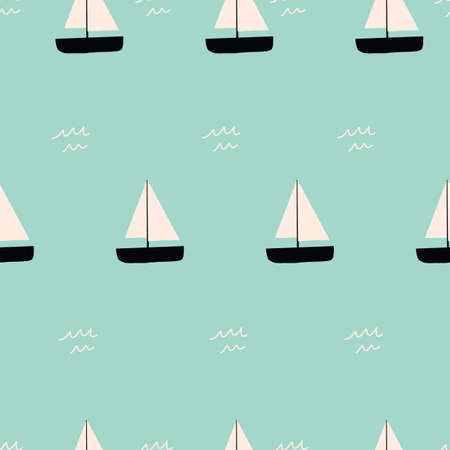 Simple repeat Vector Seamless Sailboat Pattern with aqua pattern. 向量圖像