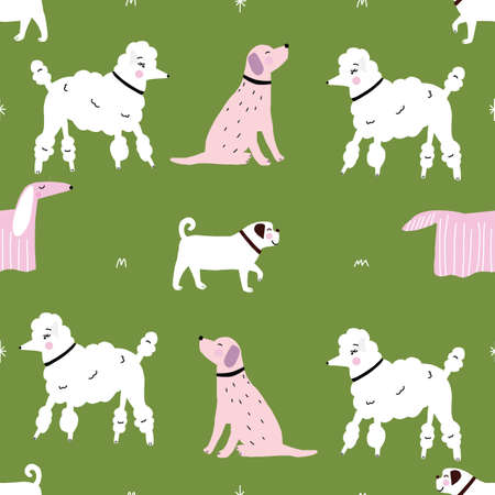 Seamless pink and white dog monochrome retro hipster pattern with green background