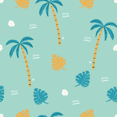 seamless aqua gold and green palm trees pattern. repeating vector beach and surfing pattern with surf boards.