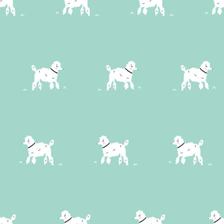 Seamless simple white dog retro hipster poodle dog pattern with aqua teal background 版權商用圖片 - 154452851