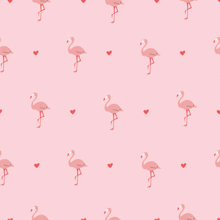 Pink and red Seamless vector repeat pattern with hearts and flamingos