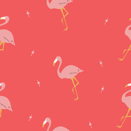 Seamless bright repeat vector retro pink and red tropical flamingo and banana pattern with retro stars. 版權商用圖片 - 154452859