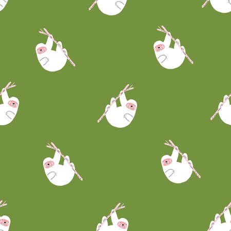 Green and white Tropical Cute repeating vector retro sloth pattern.