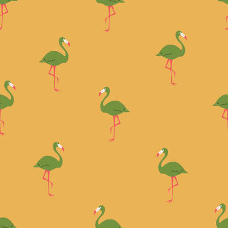 Seamless bright repeat vector retro gold yellow and green tropical flamingo pattern 向量圖像