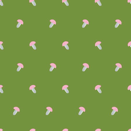 Cute green childrens pattern with pink mushrooms with dots. Beautiful background 版權商用圖片 - 154452868