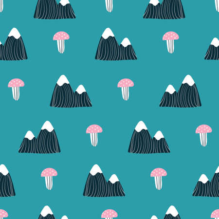 Pink teal aqua and navy blue seamless repeat hand drawn camping outdoors pattern. 版權商用圖片 - 154452870