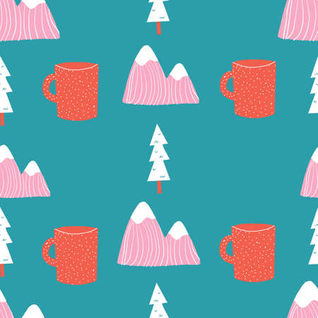 Pink teal aqua blue and red seamless repeat hand drawn camping outdoors pattern with coffee mugs mountains and tress. 版權商用圖片 - 154452872