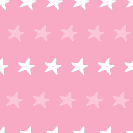 Seamless repeat pink beach vector starfish beach pattern. 版權商用圖片 - 154452875