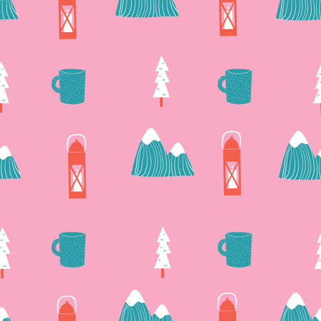 Pink teal aqua and red seamless repeat hand drawn camping outdoors mountain pattern 版權商用圖片 - 154452904