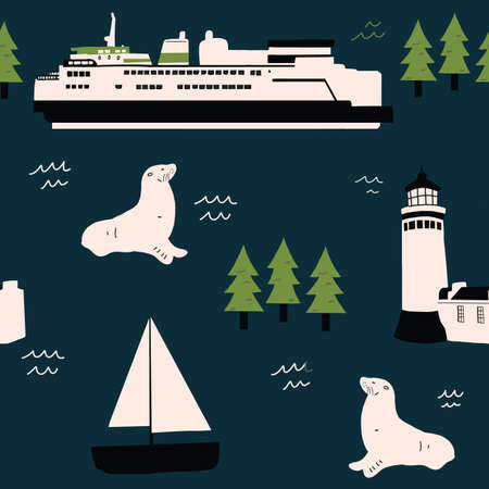 Pacific Northwest Ocean Pattern Seamless repeat hand drawn ferry seal and lighthouse pattern 版權商用圖片 - 154452908