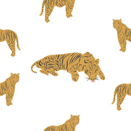 Seamless repeat tiger pattern. Vector pattern of big cats. Exotic animals pattern. Tiger King. White background. 版權商用圖片 - 155136327