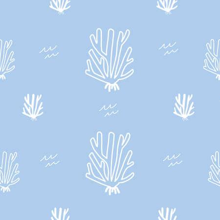 Baby Blue Coral Stock Water Ocean Seamless repeat vector pattern 版權商用圖片 - 155136328