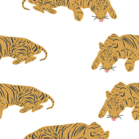 Seamless repeat tiger pattern. Vector pattern of big cats. Exotic animals pattern. Tiger King. White background. 版權商用圖片 - 155136329