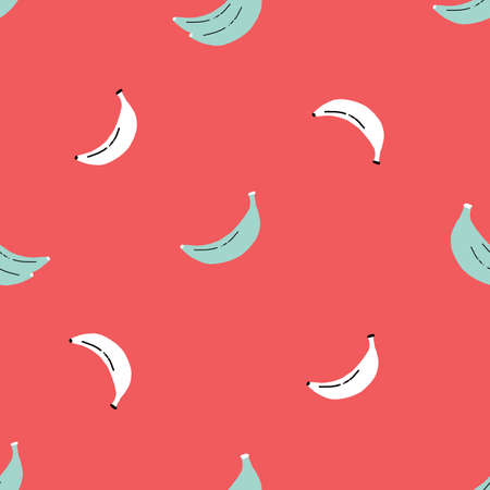 Simple vector white and teal banana pattern with red background 版權商用圖片 - 155136331