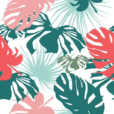 Green and pink Tropical seamless leaves pattern. Vector illustration. Stylish repeating texture. Repeating texture with leaves.