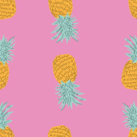 Yellow Pineapple vector background with pink background. Summer colorful tropical textile print. 版權商用圖片 - 155136334