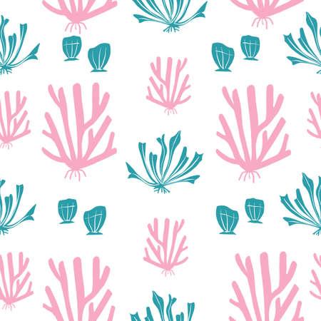 Pink and Teal Baby Blue Coral Stock Water Ocean Seamless repeat vector pattern 版權商用圖片 - 155136335