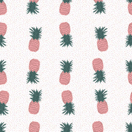 pink Pineapple vector background with pink dots. Summer colorful tropical textile print. Seamless repeat pattern
