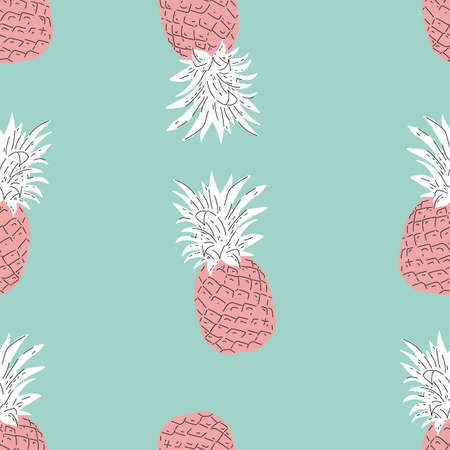 pink Pineapple with teal background Summer colorful tropical textile print. Seamless repeat pattern 向量圖像