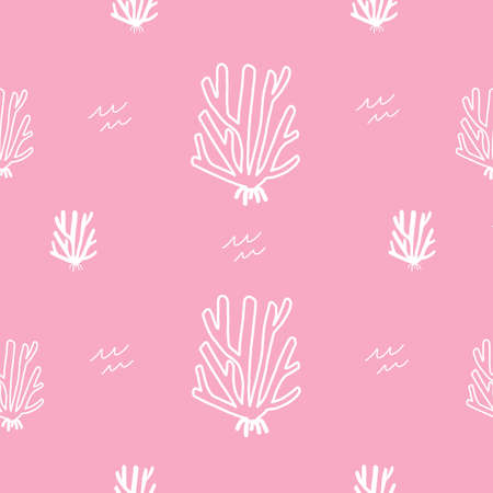 pink and white coral outline Stock Water Ocean Seamless repeat vector pattern