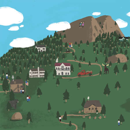Quirky Vector Mountain Village illustration. Scene of nature, city, houses, people, trees and mountains.