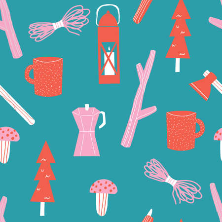 Blue red and pink Seamless repeat camping Vector Pattern with Mountains trees lantern, mushrooms, rope, sticks, and axe.