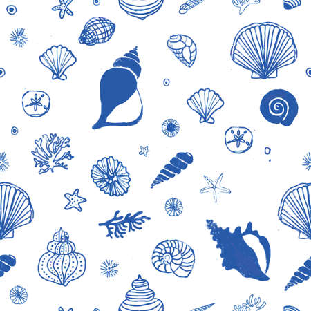 seamless light blue sea shells and starfish pattern. repeating vector beach and ocean pattern. line art.