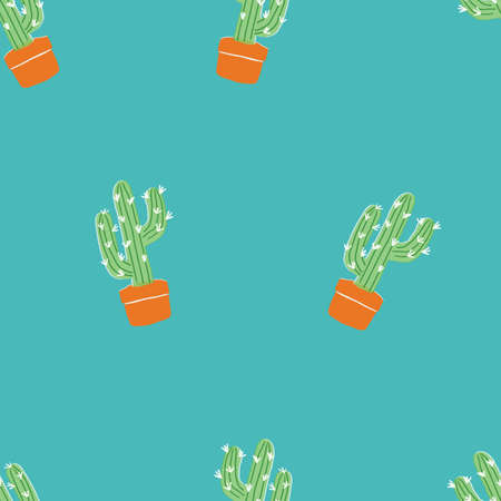 Seamless green repeating cactus pattern with blue teal background. Monochrome cute pattern.