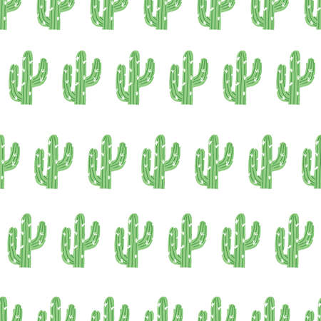 Seamless green repeating cactus pattern with white background. cactus cute kids pattern.