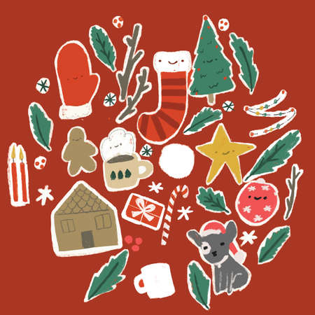 Seamless repeat Christmas vector pattern with trees gloves cup ornament and gingerbread house. Illustration