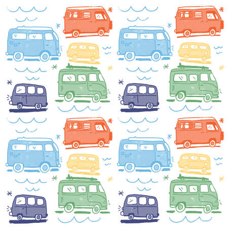 childish colorful Seamless Hand Drawn 70s Hippie Van Pattern. repeat pattern. White Background.