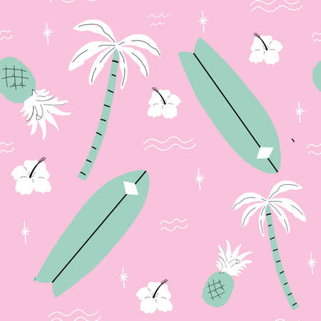 seamless pink and green palm trees pattern. repeating vector beach and surfing pattern with surf boards.