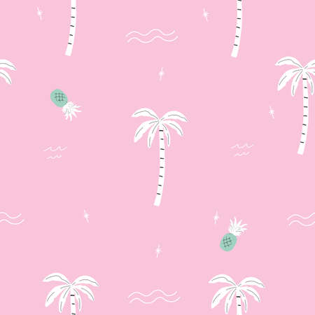 seamless pink and green palm trees and pineapple pattern with tropical flower. repeating vector beach and surfing pattern with surf boards.