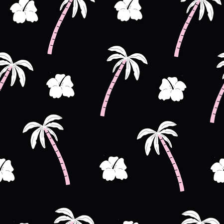 seamless pink and black palm trees pattern with tropical flowers. repeating vector beach and surfing pattern. 向量圖像