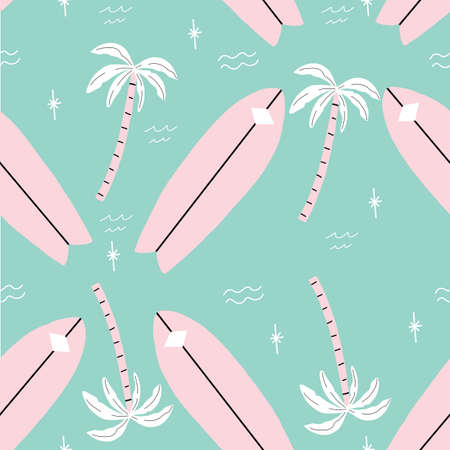 seamless pink and green palm trees pattern with tropical flower. repeating vector beach and surfing pattern with surf boards.