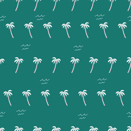 seamless pink and green palm trees pattern. repeating vector beach palm tree pattern.
