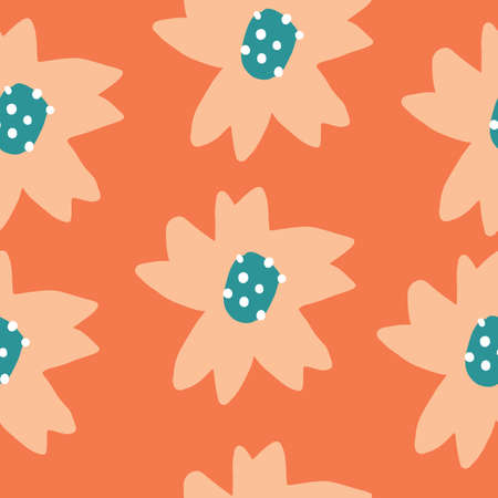 Cute Repeat Tulip Wildflower Pattern with orange background. Seamless floral pattern. orange tulip. Stylish repeating texture.