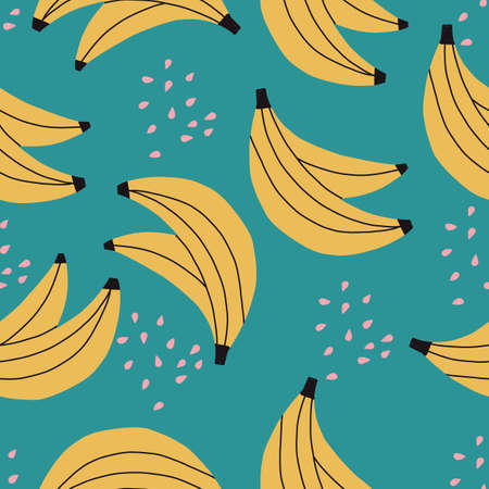 Seamless repeat vector banana pattern with blue background.