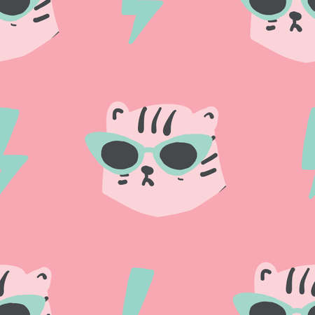 seamless simple leopard head with pink cat eye glasses seamless repeat light pink pastel pattern. Trendy tiger pattern.